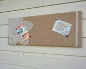 Memo Bulletin Pinboard in a beach style with natural burlap a vintage star shaped doily and embroidered lace, Photo display