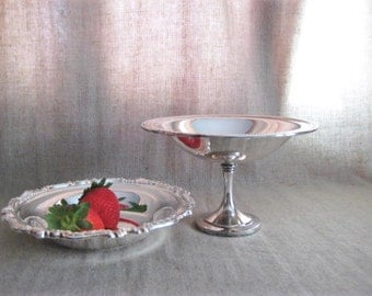 Pretty Silver Plate Compote / Candy Dish / Shabby Silver Plate Dish for Vanity, Home or Wedding Decor / Oneida Silverplate Dish
