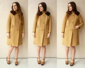 1950's Vintage Camel Coloured Wool Princess Swing Coat With Mink Fur Collar Size S/M