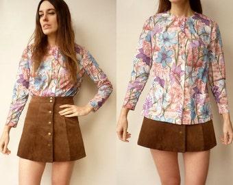 1970's Vintage Retro Floral Print Shirt Top Size S/M
