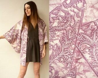 Vintage Marbled Floral Pattern Japanese Kimono Duster Jacket Haori