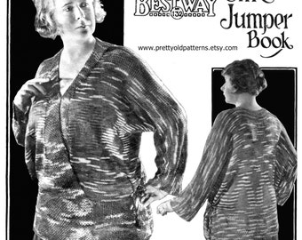 "Amazing 1920s Plus Size One Piece Jumper 48"" to 52"" Bust Bestway 132 Vintage Knitting Pattern Pdf Download"