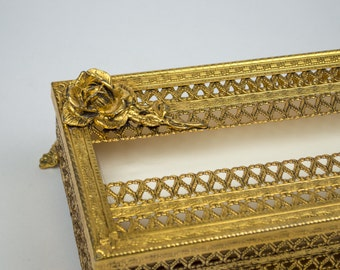 Ormolu Metal Tissue Box Gold Tone Metal Filigree Matson Stylebuilt Inspired with Stemmed Roses