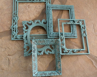 Open Frame Gallery / Hand Painted Agave / All Metal Frames / Set of Five