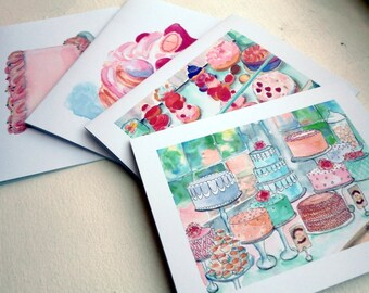 Cakes and Pastries Greeting Cards - Bakery Sweets Watercolor Art Blank Notecards - Food Illustration Cards - Set of 12 Cards
