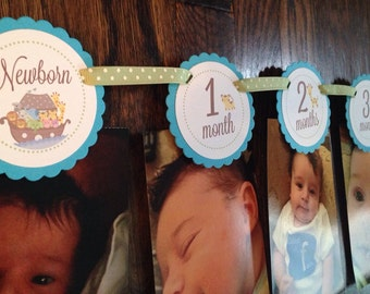 READY to SHIP Noah's Ark Collection: Just Born/0-12 month First Birthday Photo Picture Banner. Noah Ark Animals Baby First Year Milestone