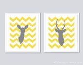 Deer Antlers Art Prints - Set of 2  - Yellow and Gray - Chevron Deer Art -  His and Hers Prints - Aldari Art