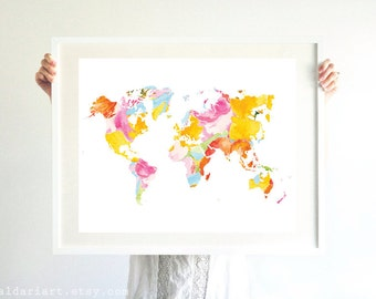 World Map Art Print - Modern Map Wall Art - 16x20 Print - Floral Map Print - Modern Map Print - Map Wall Art - Dorm Decor - Bedroom Decor