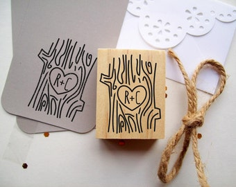 Initials in Tree Stamp , Tree Trunk Wood Grain - Custom Rubber Stamp for Save the Dates Weddings Newlyweds Favors