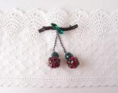 Cherry Ball brooch / 1950s vintage Austria crystal dangling cherries japanned metal brooch pin