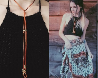 Tan Leather Lace Bolo Necklace