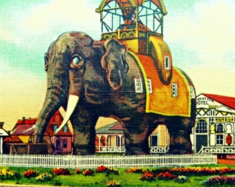 Elephant Hotel Art, Elephant Print Vintage New Jersey Art, Elephant Art 12x12 20x20 New Jersey Wall Art Lucy Margate Atlantic City NJ
