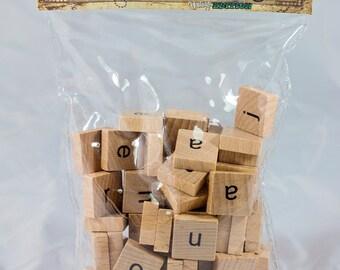 Wooden Alphabet Tiles - Lowercase - 80 Tiles