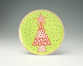 """Christmas Plate Lime and Red Christmas Tree - To Hang or Not to Hang - 9-3/4"""" Hand Painted Dinnerware"""