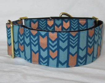 Art Deco Martingale Dog Collar - 1.5 Inch - blue copper fashion fun arrow industrial