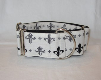 CLEARANCE Fleur-de-lis Martingale Dog Collar - 1.5 or 2 Inch - cream gray black mardis gras french flower