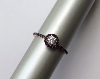 AUDREY  RING antique edwardian inspired sterling cz zirconia rose gold quartz