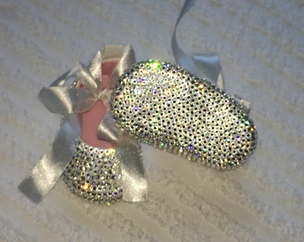Swarovski Rhinestone Completely Covered Baby Girls BLING Shoes Perfect for Baptism/Christening