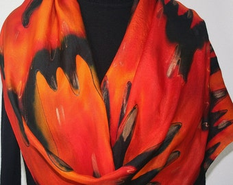 Silk Scarf Hand Painted Silk Shawl Red Orange Black Hand Dyed Silk Scarf FLOWING LAVA Large 14x72 Birthday Gift Scarf Gift-Wrapped Scarf