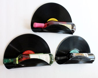 Randomly Selected Upcycled Vinyl Record Wine Rack Wall Organizer - Set of 3