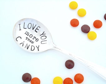 I love you more than Chocolate Candy Dish Spoon. Hand Stamped Table Spoon. Gift for Chocoholic. Gift for Candy Lover, Sweet Tooth Treat