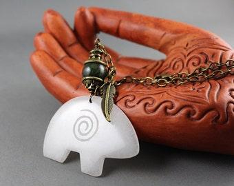 Spirit Bear Road Totem, White Jade, Rear View Mirror Charm, Car Charm, Spirit Bear, Bear Totem, Car Accessory, Animal Totem, Road Totem