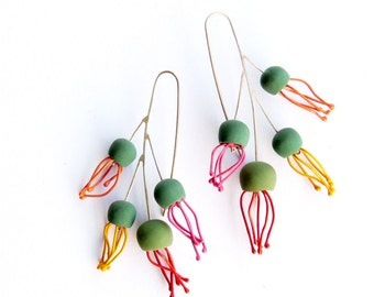 Tropical cluster earrings, OOAK limited edition, Ready To Ship