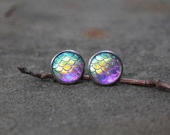 Purple Mermaid Scale Earrings