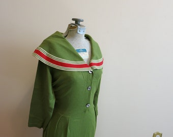 Dress sailor sweater olive green red bunting shawl collar Saks Fifth Avenue L