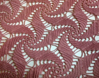 vintage pink / mauve cotton handcrochet scarf / shawl pinwheel pattern