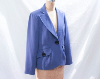 Periwinkle Blazer with Large Black Buttons