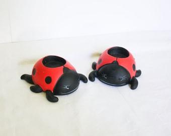 Painted Ceramic Ladybug Votive Candle Holders