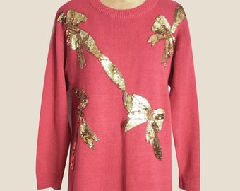 Salmon Pink Sweater with Sequinned Bows