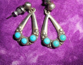 Southwest Sterling & Turquoise Earrings Signed  WM co
