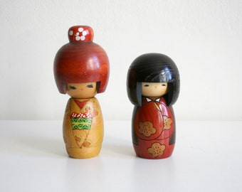 Two Japanese Geisha Wooden Dolls
