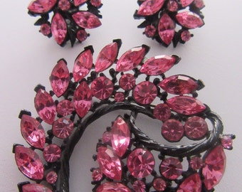 Pink Rhinestone Pin and Earrings