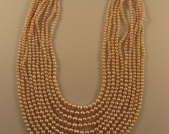 1940s Vintage Faux Pearl 10 Strand Graduated Necklace