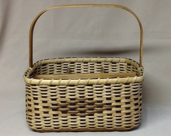 Rectangular Divided Basket, Hande Woven, Wood Base, Dividers and Handle, Brown Accent Color
