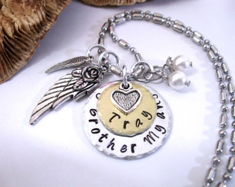FLASH SALE TODAY Brother Memorial, Memorial Necklace, Memorial Keychain, Sibling Loss, Brother Bereavement, Angel Brother, My Brother My Ang