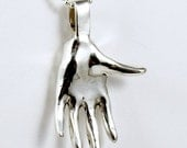 Sterling Silver Hand Jewelry Pendant - Reach Out With Kindness - Sterling Hand - Empowerment Jewelry - Hand Art Jewelry Pendant - 2013