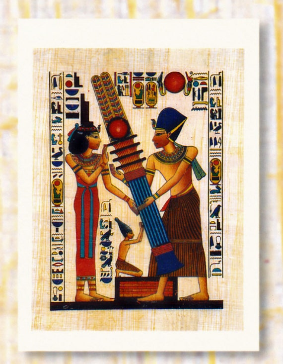 "Genuine Egyptian Papyrus Notecard-""Pillar's Construction"". Beautiful design. Egyptian gods and goddesses. Unique gift."