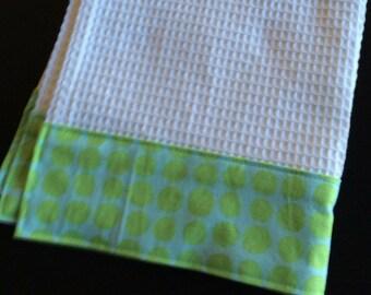 Kitchen Towel, Hand Towel, Tea Towel, Waffle Weave Towel, Dish Towel, Kitchen Hand Towel-Mint Dot-Amy Butler