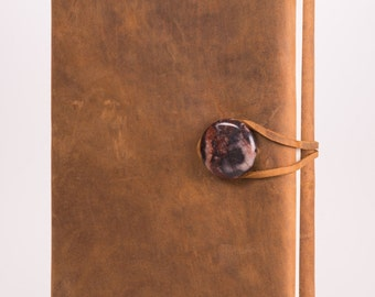 """Refillable, Plain Leather Journal with Natural Jasper Concho + Blank Pages 5.5"""" x 8.5"""" (JM-34)"""