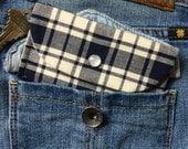 Card Holder Wallet Keychain - Blue Keychain Wallet - ID Holder Wallet - Credit Card Key Holder Wallet - Blue Plaid