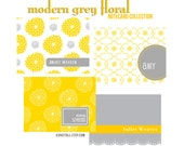 Personalized Stationary . Custom Name Wedding Monogram Note Cards . A2 Note Card Stationery Set . Thank You . Gray Grey Yellow Floral Flower