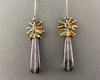 Sterling Silver Earrings With Peridot Amber Citrine Gemstones And Czech Crystals