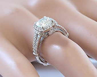 14k white gold cushion cut forever brilliant moissanite and diamond engagement ring art deco 2.15ct