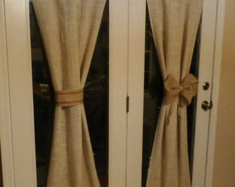 French Grain sack White / Oatmeal Color Burlap 1 Panel 24 x 68 inch- Custom Made Rod Pocket Curtain Window Drapery Treatment for Glass Doors