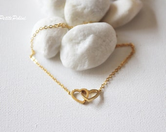 Heart in Heart Bracelet in Silver/Gold. Two Hearts Bracelet. Love. Valentine's Gift. Anniversary. Everyday Wear. Gift For Her (PBL-13)