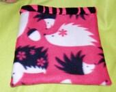 Hedgehog bag reversible pink & black fleece cuddle bag bonding bag hedgehogs zebra stripe handmade